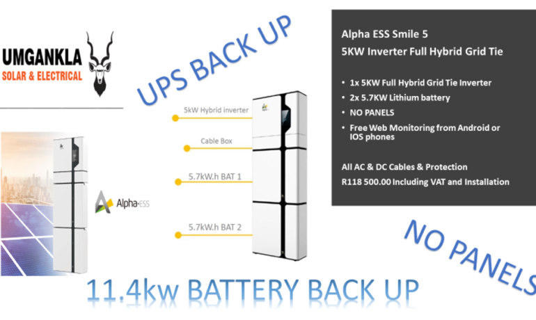 5KW Alpha Full Hybrid Inverter – Grid Tie with 2x 5.7KW Lithium battery - (No Panels)- Fully Installed