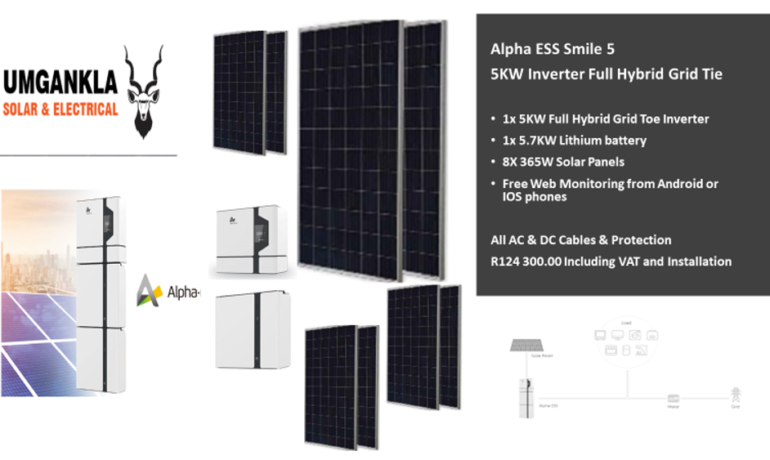 5KW Alpha Full Hybrid Inverter – Grid Tie with 1x 5.7KW Lithium battery and 8x 365W Solar Panels – Fully Installed