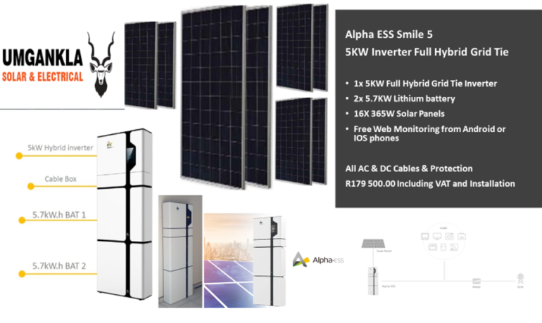 5KW Alpha Full Hybrid Inverter – Grid Tie with 2x 5.7KW Lithium batteries and 16x 365W Solar Panels – Fully Installed